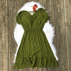 Max Studio Olive Knit Boho Peasant Dress